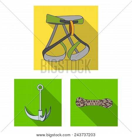 Mountaineering And Climbing Flat Icons In Set Collection For Design. Equipment And Accessories Vecto