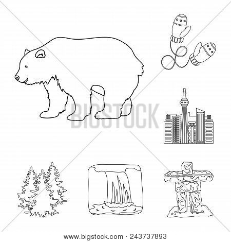 Country Canada Outline Icons In Set Collection For Design. Canada And Landmark Vector Symbol Stock
