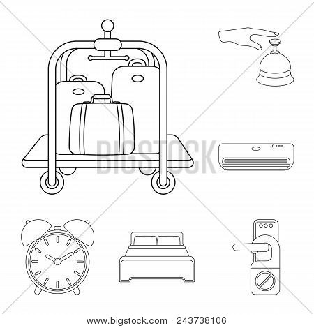 Hotel And Equipment Outline Icons In Set Collection For Design. Hotel And Comfort Vector Symbol Stoc