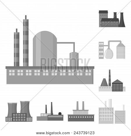 Factory And Facilities Monochrome Icons In Set Collection For Design. Factory And Equipment Vector S