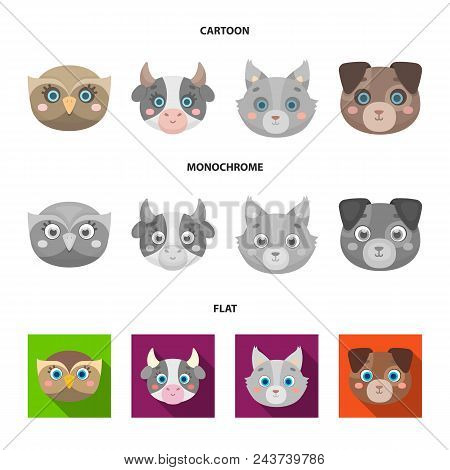Owl, Cow, Wolf, Dog. Animal Muzzle Set Collection Icons In Cartoon, Flat, Monochrome Style Vector Sy