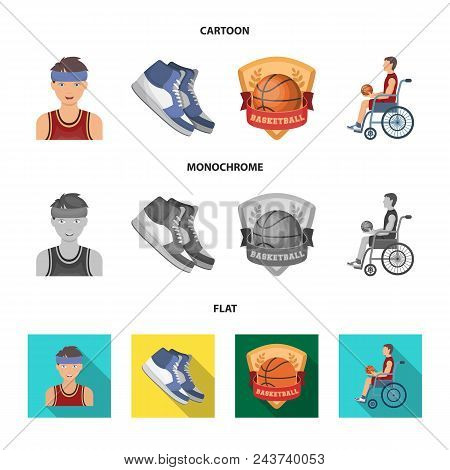 Basketball And Attributes Cartoon, Flat, Monochrome Icons In Set Collection For Design.basketball Pl