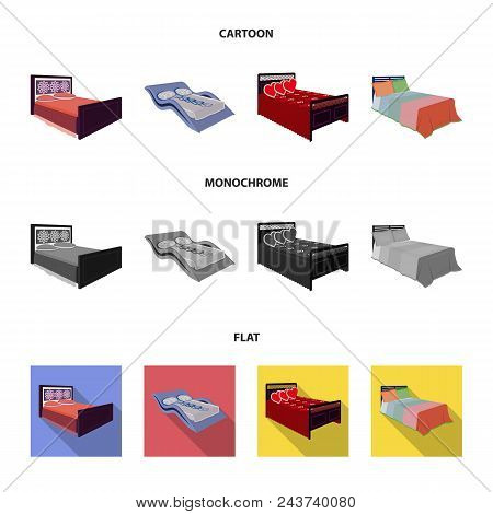 Different Beds Cartoon, Flat, Monochrome Icons In Set Collection For Design. Furniture For Sleeping