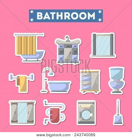 Bathroom Furniture Icon Set. Home Interior Design, Modern Apartment Decoration Isolated Elements. Wa