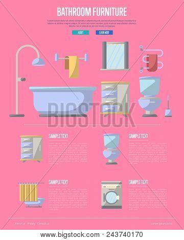 Bathroom Furniture Poster With Washing Machine, Shower Cabin, Toilet, Table, Bathtub, Towel Dryer, W