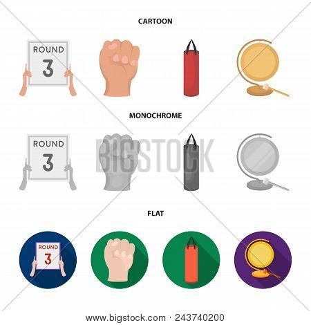 Boxing, Sport, Round, Hand .boxing Set Collection Icons In Cartoon, Flat, Monochrome Style Vector Sy
