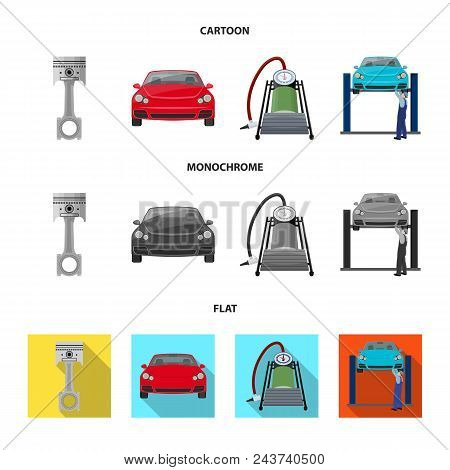 Car On Lift, Piston And Pump Cartoon, Flat, Monochrome Icons In Set Collection For Design.car Mainte