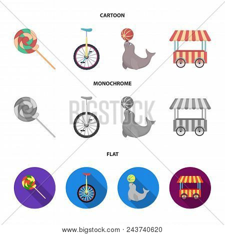 Lollipop, Trained Seal, Snack On Wheels, Monocycle.circus Set Collection Icons In Cartoon, Flat, Mon