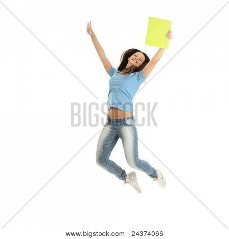 Jumping female college / university student isolated on white background.