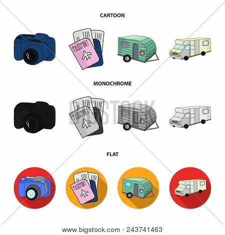 Vacation, Photo, Camera, Passport .family Holiday Set Collection Icons In Cartoon, Flat, Monochrome