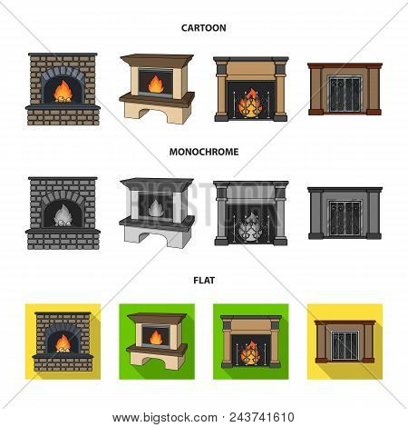 Fire, Warmth And Comfort.fireplace Set Collection Icons In Cartoon, Flat, Monochrome Style Vector Sy
