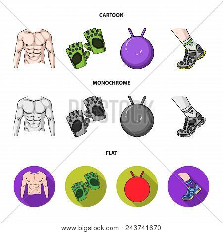 Men Torso, Gymnastic Gloves, Jumping Ball, Sneakers. Fitnes Set Collection Icons In Cartoon, Flat, M