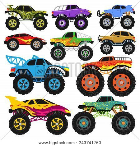 Monster Truck Vector Cartoon Vehicle Or Car And Extreme Transport Illustration Set Of Heavy Monstert