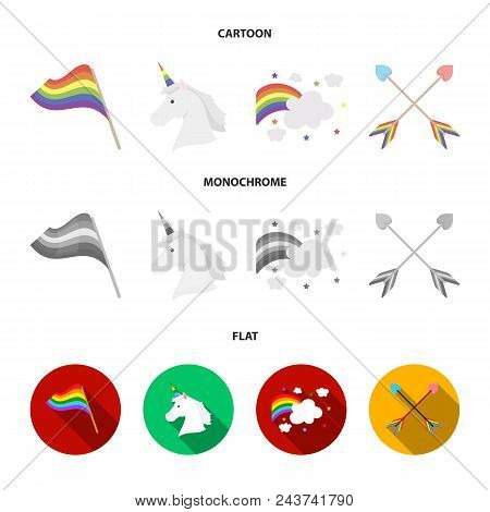 Flag, Unicorn Symbol, Arrows With Heart.gay Set Collection Icons In Cartoon, Flat, Monochrome Style