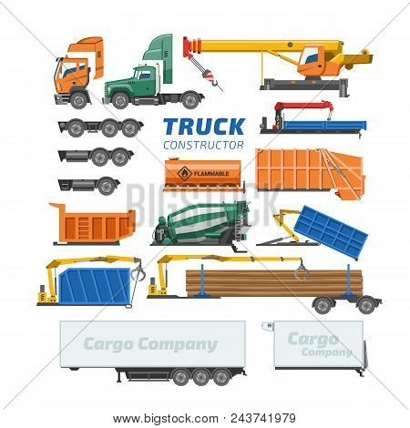 Truck Constructor Vector Delivery Vehicle Or Cargo Transportation And Trucking Construction Illustra
