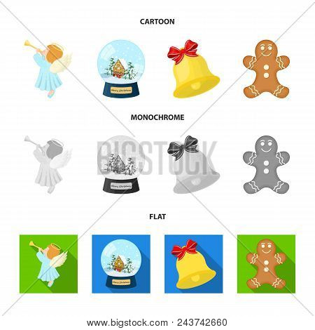Angel, Glass Bowl, Gingerbread And Bell Cartoon, Flat, Monochrome Icons In Set Collection For Design