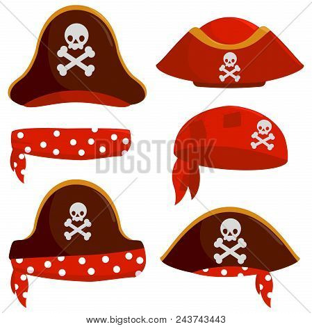 Vector Set Of A Pirate Captain Hats, Bandannas And Scarves.