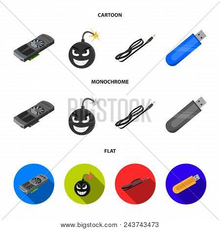 Video Card, Virus, Flash Drive, Cable. Personal Computer Set Collection Icons In Cartoon, Flat, Mono