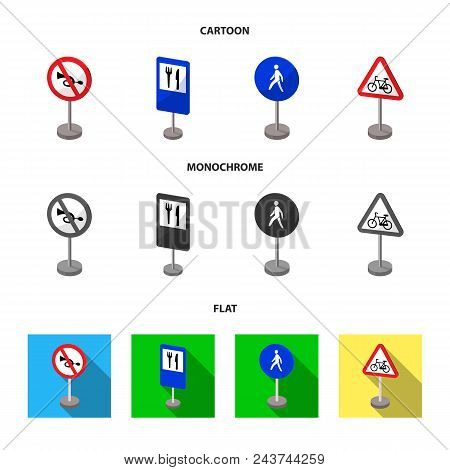 Different Types Of Road Signs Cartoon, Flat, Monochrome Icons In Set Collection For Design. Warning