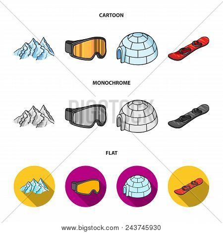 Mountains, Goggles, An Igloo, A Snowboard. Ski Resort Set Collection Icons In Cartoon, Flat, Monochr