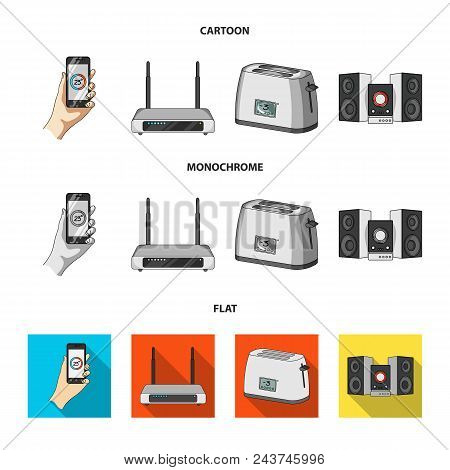 Home Appliances And Equipment Cartoon, Flat, Monochrome Icons In Set Collection For Design.modern Ho