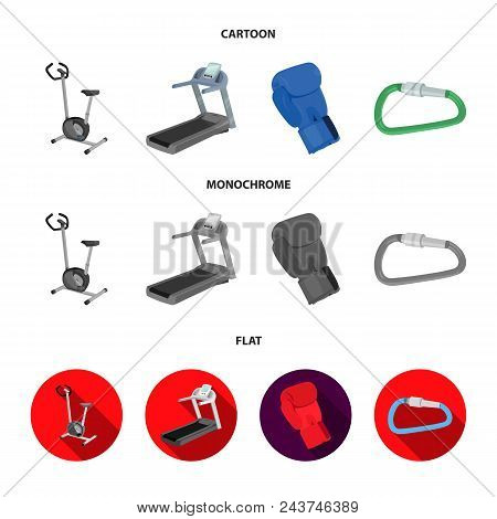 Exercise Bike, Treadmill, Glove Boxer, Lock. Sport Set Collection Icons In Cartoon, Flat, Monochrome