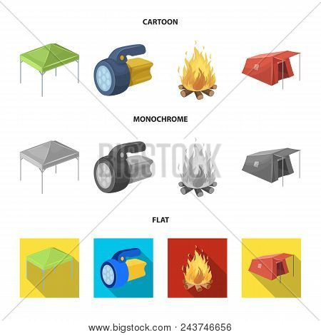 Awning, Fire And Other Tourist Equipment.tent Set Collection Icons In Cartoon, Flat, Monochrome Styl