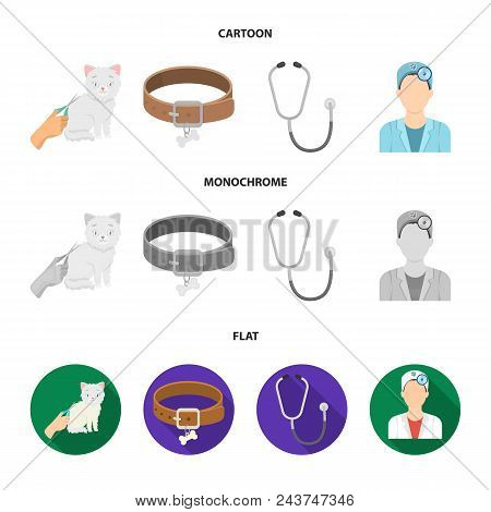 Collar, Bone, Cat, Haircut .vet Clinic Set Collection Icons In Cartoon, Flat, Monochrome Style Vecto