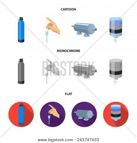 Purification, Water, Filter, Filtration .water Filtration System Set Collection Icons In Cartoon, Fl