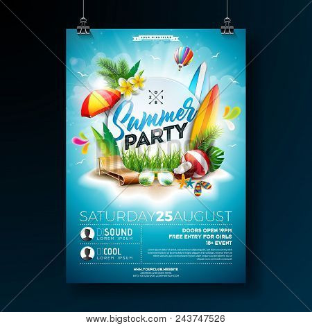 Vector Summer Beach Party Flyer Design With Typographic Elements On Blue Cloudy Sky Background. Summ