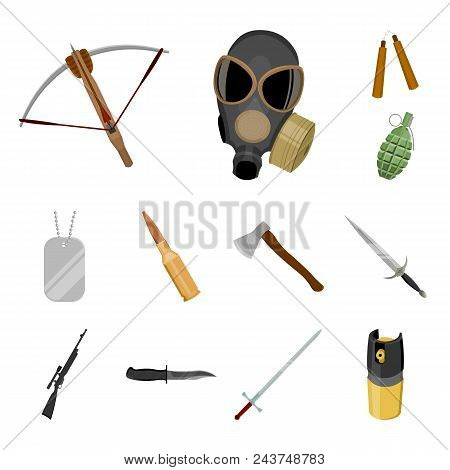 Types Of Weapons Cartoon Icons In Set Collection For Design.firearms And Bladed Weapons Vector Symbo