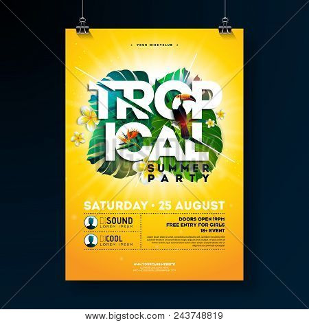Vector Tropical Summer Party Flyer Design With Typographic Elements On Sun Yellow Background. Summer