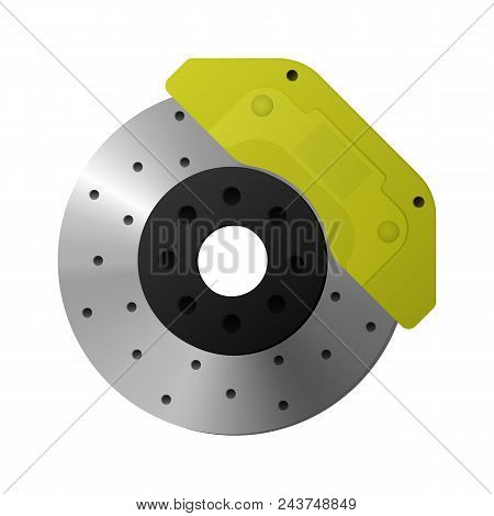 Brake Disc, Caliper, Pad Expendable Material Vector Illustration