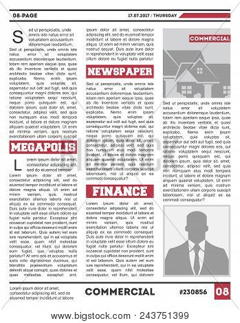 Daily Paper Tabloid Template. Typography Design With Columns, Daily News Page Layout, Info Press Ill