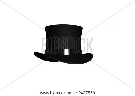 Render Of Isolated Classic Black Top Hat On A White Background