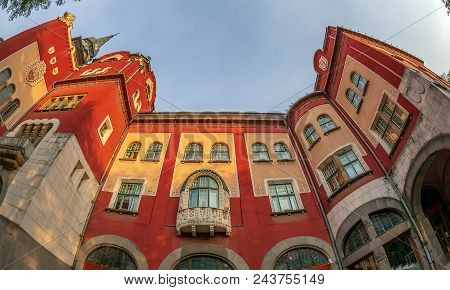 Subotica / Vojvodina, Serbia - April 28, 2018: Part Of Historic Building Of City Hall Built In Art N