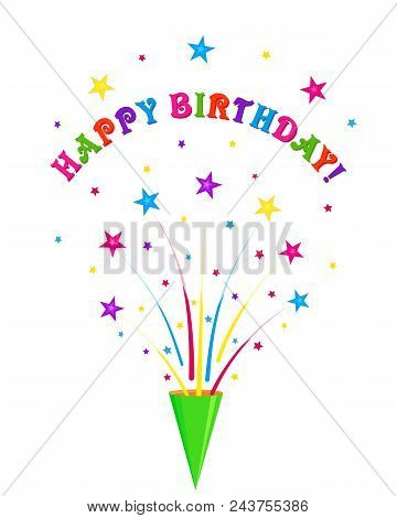 Birthday Greeting Card With Party Cracker, Party Popper And Colored Stars, Multicolored Greeting Ins
