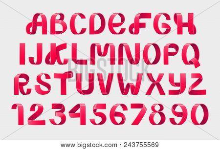 Alphabet Vector Of Paper Folding. Red Ribbon Script Font. Vector Alphabet Of Modern Stylized Paper F