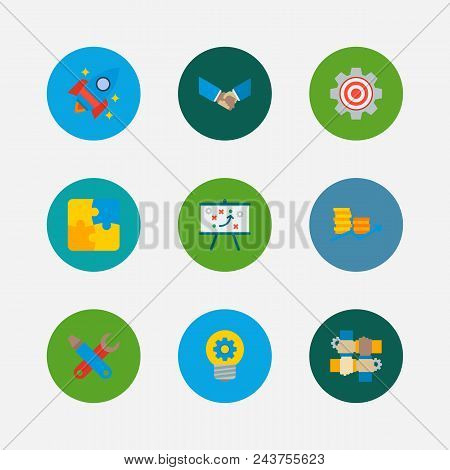 Partnership Icons Set. Handshake And Partnership Icons With Finance, Partnership And Technical Strat