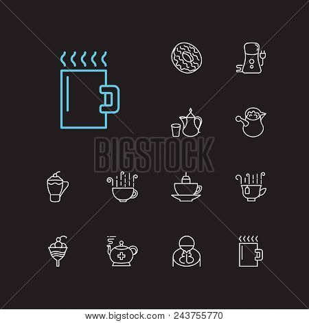 Cafe Icons Set. Coffee Grinder And Cafe Icons With Donut, Mug And Cafe Macchiato. Set Of Catering Fo