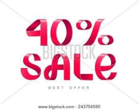Vector Illustration. Red Ribbon Isolated On White Background. Sale 40 Percent Off. 40 Discount. Sale