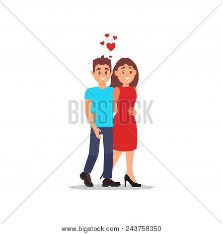 Romantic Couple Walking And Hugging. Young Man And Woman On The Date. Cartoon People Characters. Guy