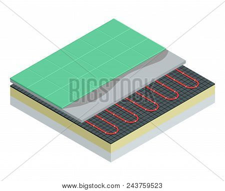 Isometric Layers Of Floor Heating System Partly Under Ceramic Tiles. Underfloor Heating Vector Illus