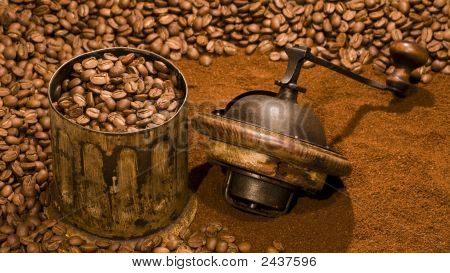 Coffee Mill And Coffe Beans