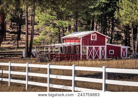 Red Rural Barn In Sedona, Arizona And Red Rock State Park.