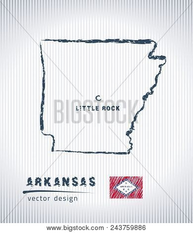 Arkansas Vector Chalk Drawing Map Isolated On A White Background