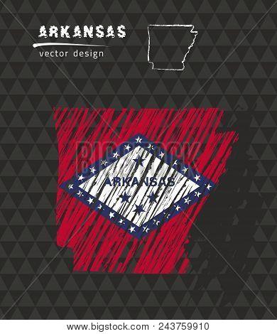 Arkansas National Vector Map With Sketch Chalk Flag. Sketch Chalk Hand Drawn Illustration