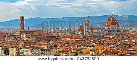 Florence Italy Panorama with Arno River Old Palace and the Big Dome of The Cathedral called Duomo di Firenze  with vivid colors poster