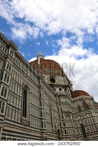 Florence In Italy Large Dome Of The Dome Designed By Architect Brunelleschi With Big Golden Sphere O