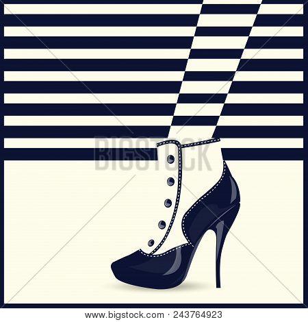 Woman Legs In Fashion High Heels Shoes. Pop Art Illustration.